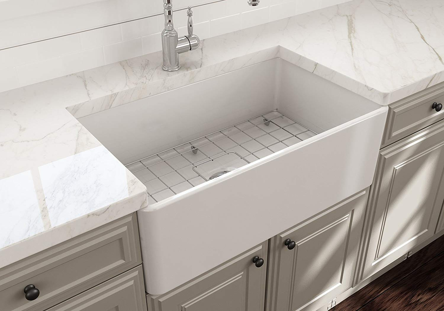 Bocchi Classico Apron Front Fireclay Sink (installed view)