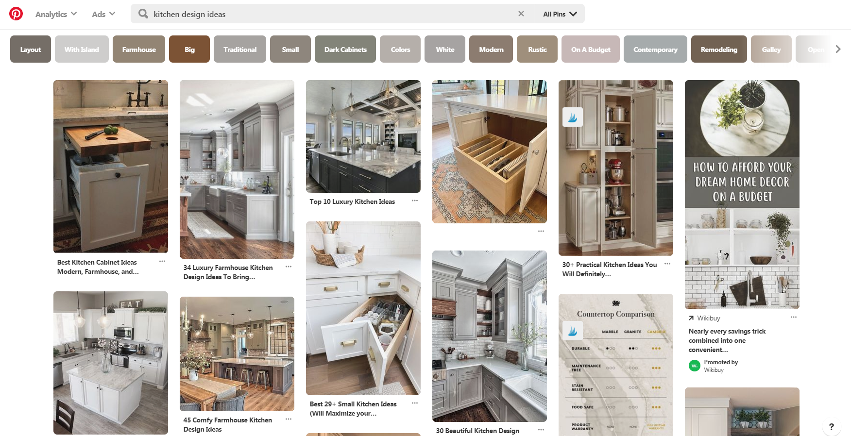 Pinterest Results for Kitchen Design Ideas