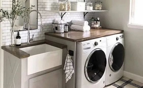 Farmhouse Sink in a Laundry Room