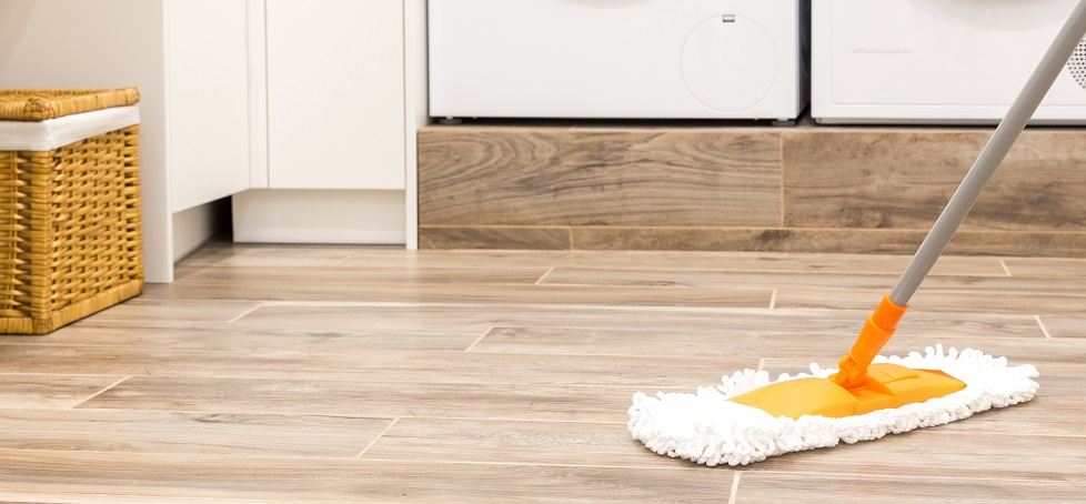 Mopping the Floor in a Laundry Room