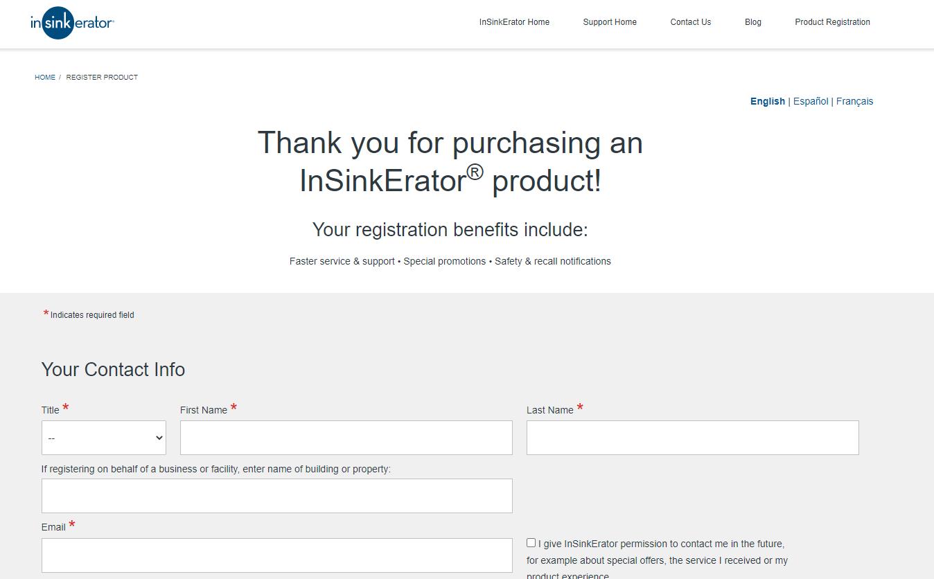 InSinkerator Registration Page