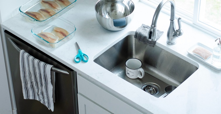 Stainless Steel Sink in a Kitchen that Needs Cleaned